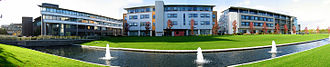 University of Warwick - L to R: International Manufacturing Centre (IMC), Department of Computer Science (DCS), Zeeman Building (Maths and Statistics)