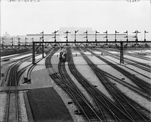 Washington Union Station - Trains at the station shortly after its completion, circa 1908