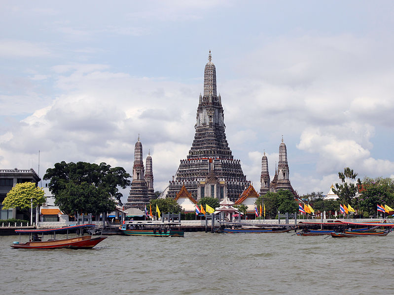 Wat Arun at Chao Phraya River in Bangkok, Thailand.