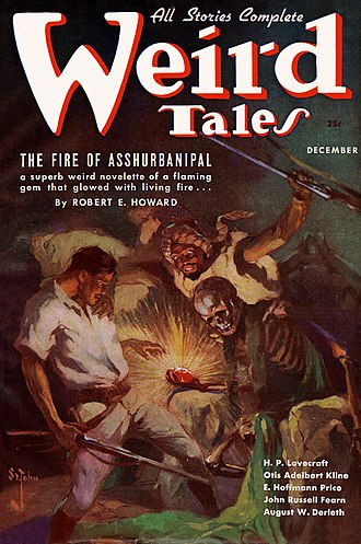 Weird Tales - Cover of the December 1936 Weird Tales, by J. Allen St. John, illustrating Robert E. Howard's The Fire of Asshurbanipal