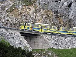 "The Wendelstein Railway passing the ""Hohe Mauer"" (""High Wall"")"
