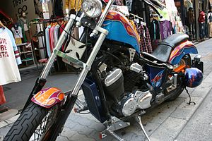 West Coast Choppers - A chopper in Japan with a West Coast Choppers accessory cross.