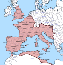 The territory controlled by the Western Roman Imperial court following the nominal division of the Roman Empire after the death of Emperor Theodosius I in A.D. 395.