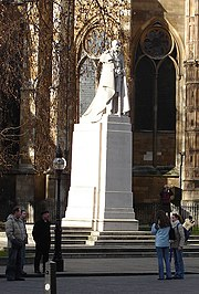 Statue of King George V by William Reid Dick, outside Westminster Abbey, London
