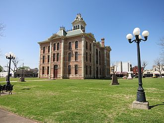 Wharton, Texas - Wharton's economy is dependent on the county government. This photo shows the county courthouse from Fulton Street.