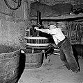 Wijnboer Römer perst zijn druiven met de oudste handpers in Kröv, Bestanddeelnr 254-4221.jpg