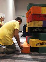 Wikimania 2015-Wednesday-Volunteers play Weasel-Jenga (8).jpg