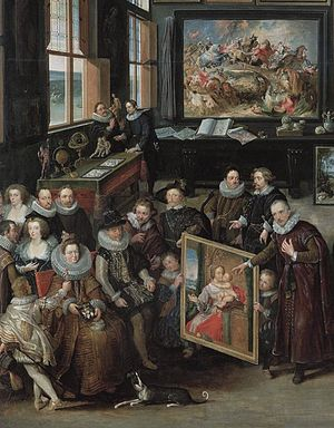 Madonna and Child Kissing - Detail of the Van Haecht painting featuring the Madonna of the Cherries, with Van der Geest pointing to the Madonna and looking at the viewer and Albert and Isabella seated before it