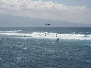Ho'okipa - Windsurfers in the waves during high surf at Ho'okipa, April 2006