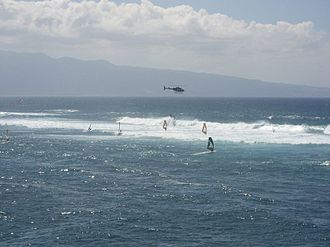 Ho'okipa - Windsurfers in the waves during high surf at Ho'okipa, April 2006