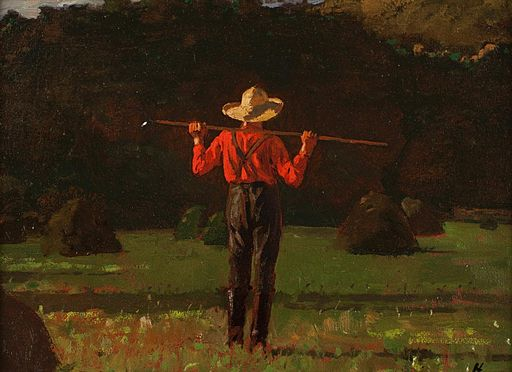 Winslow Homer (American, 1836–1910), Farmer with a Pitchfork. Oil on board