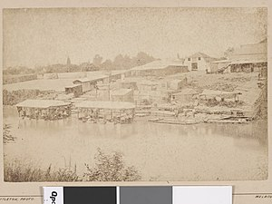 Yarra River - Photograph of wool washing sheds in and on banks of Yarra River