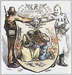 White League and Ku Klux Klan alliance, in illustration, by Thomas Nast, in Harper's Weekly, October 24, 1874