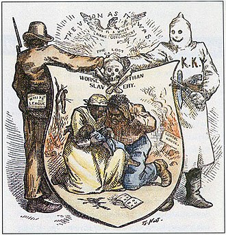 White League - White League and Ku Klux Klan alliance, in illustration, by Thomas Nast, in Harper's Weekly, October 24, 1874