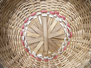 Basket weaving - Woven bamboo basket for sale in K. R. Market, Bangalore, India