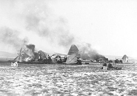 P-47s destroyed at Y-34 Metz-Frescaty airfield during Operation Bodenplatte Y-34 Metz Airfield - Destroyed P-47s Operation Bodenplatte.jpg
