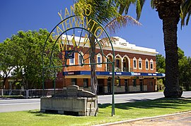 Yanco welcome sign, hotel and Bills horse trough.jpg