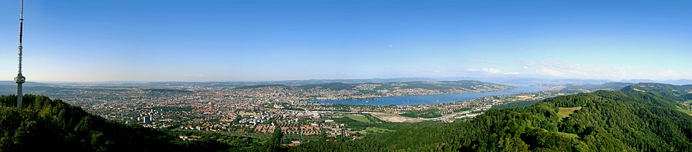 View over Zürich and Lake Zürich from the Uetliberg