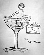 Zelda Fitzgerald's sketch of a naked flapper in a martini glass