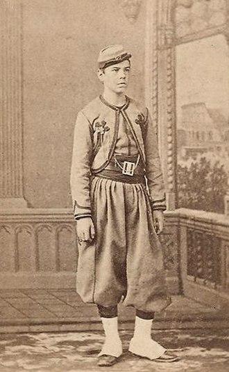 Papal Zouaves - Jules Marie Deluen (1849–1918) in Papal Zouave uniform in Nantes, France