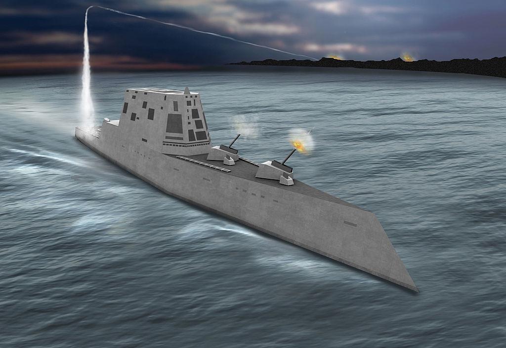 المدافع البحرية للسفن الحربية  1024px-Zumwalt-class_%28DDG-1000%29_artist%27s_conception