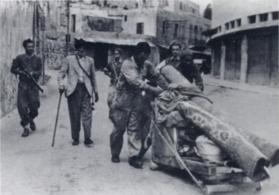 Arab residents leaving Haifa as Jewish forces enter the city Utek z Haify.png