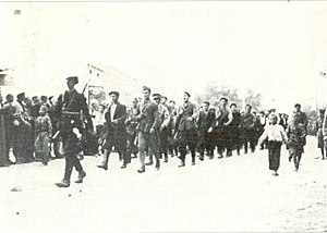 Kičevo - Partisan fighters entering Kichevo on September 9, 1943.