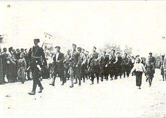Kičevo - Partisan fighters entering Kichevo on September 9, 1943.