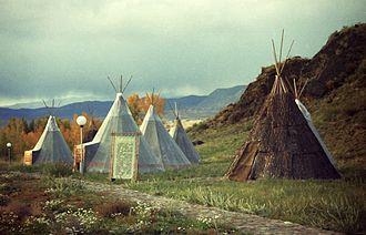 "Chum (tent) - Tyvan chums in ethnocultural complex of ""The Aldyn-Bulak"", Russia, Tyva"