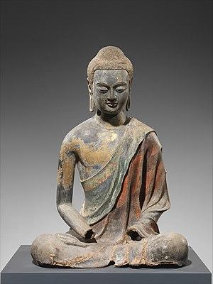 Chinese Buddhist sculpture - Image: 唐 彩繪漆金夾紵阿彌陀佛像 Buddha, Probably Amitabha (Amituofo) MET DP170964