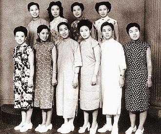 """Yue opera - Ten popular performers, dubbed """"Ten Sisters"""", in 1947. Front row (L-R): Xu Tianhong, Fu Quanxiang, Yuan Xuefen, Zhu Shuizhao, Fan Ruijuan, and Wu Xiaolou. Back row (L-R): Zhang Guifeng, Xiao Dangui, Xu Yulan, and Yin Guifang."""
