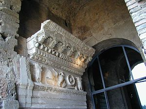 Temple of Vespasian and Titus - The pediment and frieze, in the tabularium.