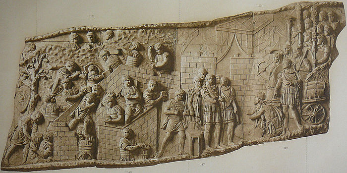 Relief panel from Trajan's Column showing the building of a fort and the reception of a Dacian embassy 042 Conrad Cichorius, Die Reliefs der Traianssaule, Tafel XLII.jpg