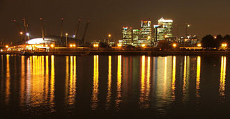London Docklands - The O2 and Canary Wharf from the Royal Victoria Dock