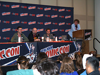 The Illegitimates - A panel discussion on the series at the 2013 New York Comic Con. From left to right: Taran Killam, Marc Andreyko, Chris Ryall and IDW VP of Marketing Dirk Wood.