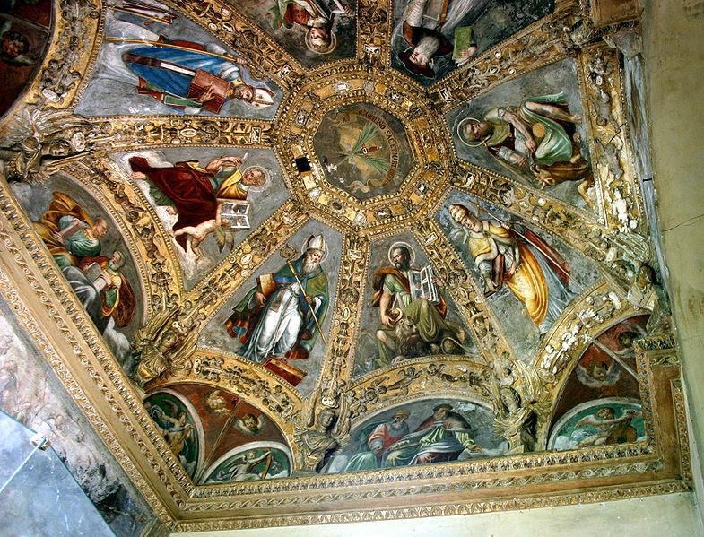 File:1470 - Milano - S. Lorenzo - Cappella S. Aquilino - S. Marco fra 2 dottori d. Chiesa - Foto Dall'Orto - 18-May-2007.jpg