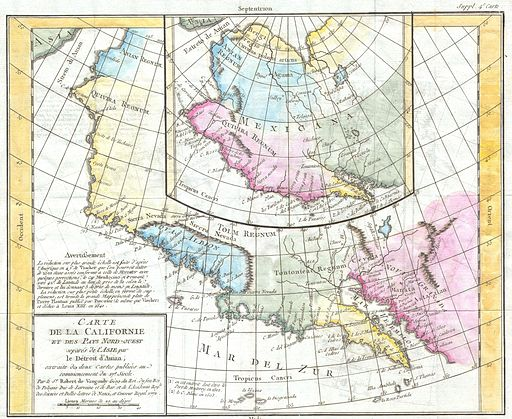 1768 Vaugondy Map of California and Alaska - Geographicus - CartedeLaCalifornie-vaugondy-1768