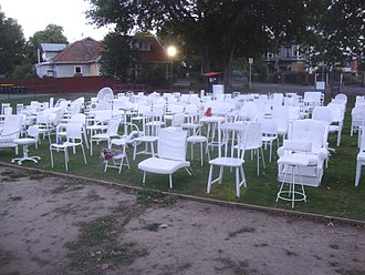 Canterbury Earthquake National Memorial - 185 empty chairs as installed in February 2012