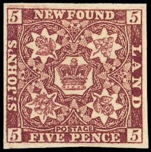 Postage stamps and postal history of Newfoundland - 1860 5 pence stamp