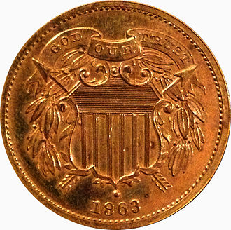 "Two-cent piece (United States) - With ""God Our Trust"""
