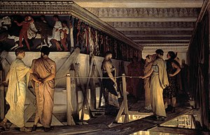 1868 in art - Image: 1868 Lawrence Alma Tadema Phidias Showing the Frieze of the Parthenon to his Friends