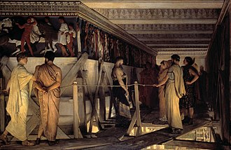 Pericles - Phidias Showing the Frieze of the Parthenon to Pericles, Aspasia, Alcibiades and Friends, by Sir Lawrence Alma-Tadema, 1868, Birmingham Museum & Art Gallery