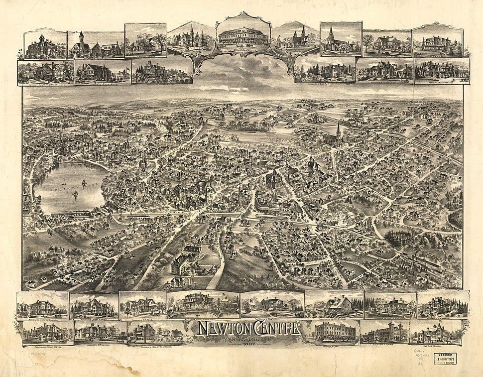 1897 Newton Centre bird's eye view