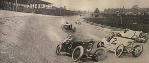 1915 Indianapolis 500 - Composite image showing the front row at the start of the 1915 Indianapolis 500.