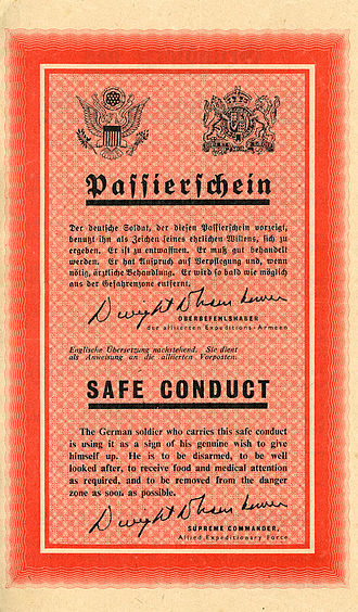 906th Air Refueling Squadron - Safe conduct pass, probably the most successful Allied propaganda leaflet of the war