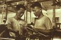 1952-10 1952年朱培先(左)被介绍到国营上海第二纺织机械制造厂做车床工.png