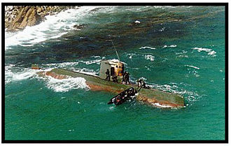 1996 Gangneung submarine infiltration incident - The Sang-O-class submarine stranded on the South Korean coast