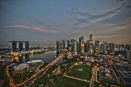 Singapore has one of the busiest ports in the world and is the world's fourth largest foreign exchange trading center. 1 singapore city skyline dusk panorama 2011.jpg