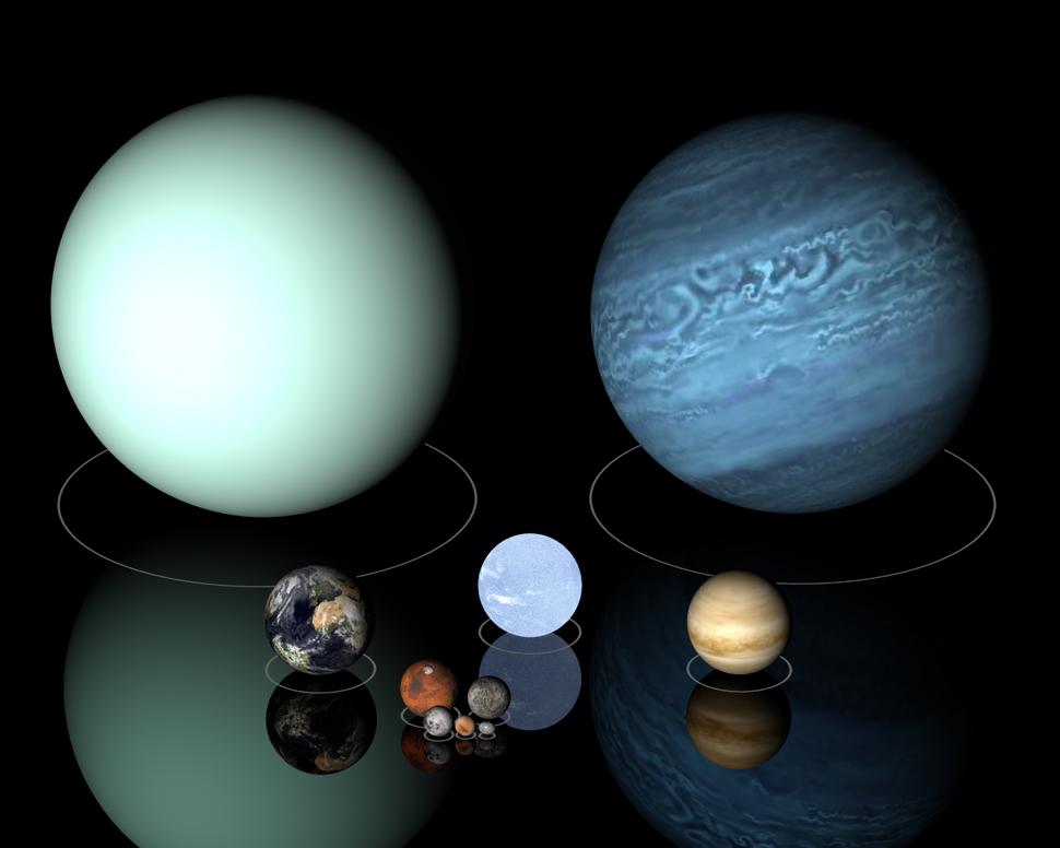 1e7m comparison Uranus Neptune Sirius B Earth Venus
