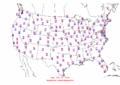 2003-10-20 Max-min Temperature Map NOAA.png